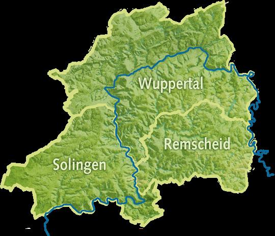 Karte Städtedreieck Solingen, Wuppertal, Remscheid